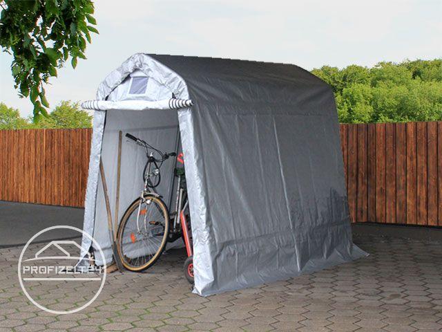 Kleines Garagenzelt mit Fahrrad drin