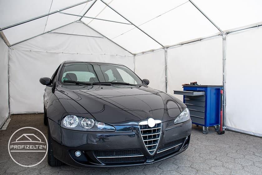 Wetterfeste Lagerzelte 3x6 m als optimale Garagen für Großfahrzeuge