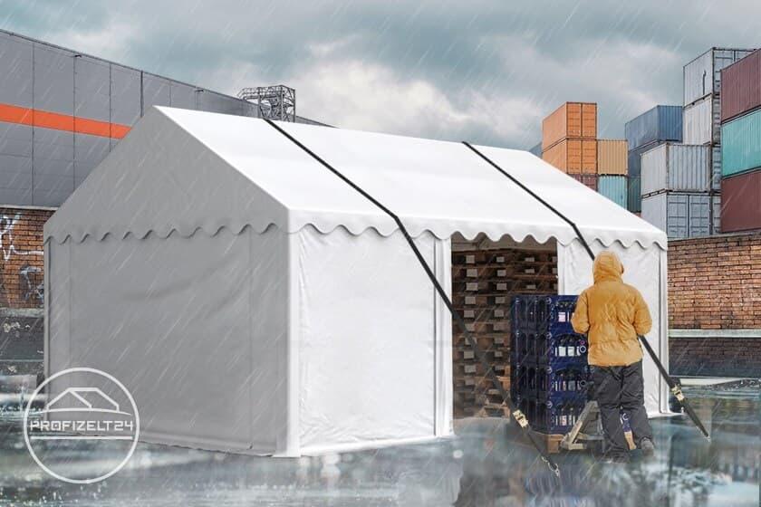 Wasserdichte Lagerzelte 3x6 m durch Sturmsicherungen standsicher machen