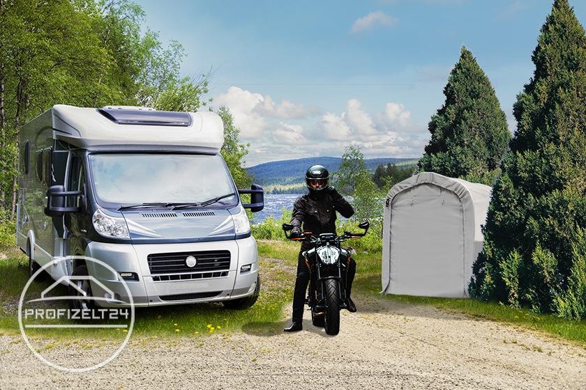 Mobile Motorradgaragen als praktische Lösungen beim Campingurlaub