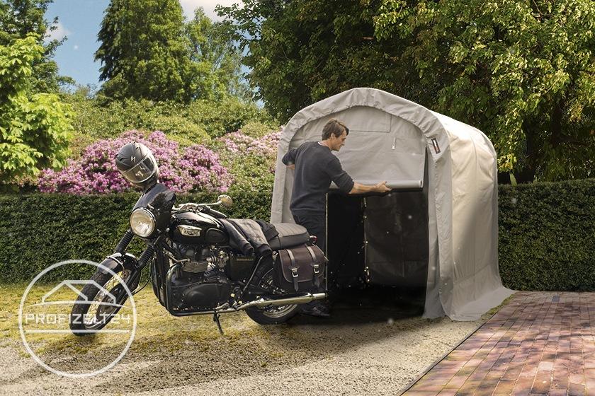 Wetterfeste Motorradgarage als Schutz vor Pollen, Vogelkot und Regen