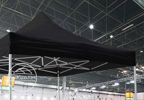 Schwarze Faltpavillons mit robuster Stahlkonstruktion